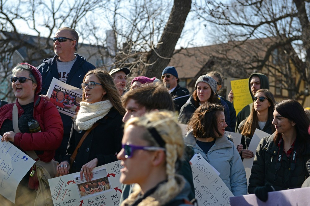 Break the Silence Day organized a march to protest sexual assault by greek life members on frat row along University Avenue on Saturday, Mar. 4, 2017.