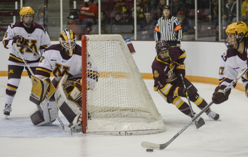 Redshirt junior goalkeeper Sidney Peters defends the goal from the Bulldogs on Saturday, Feb. 4, 2017 at Ridder Arena.