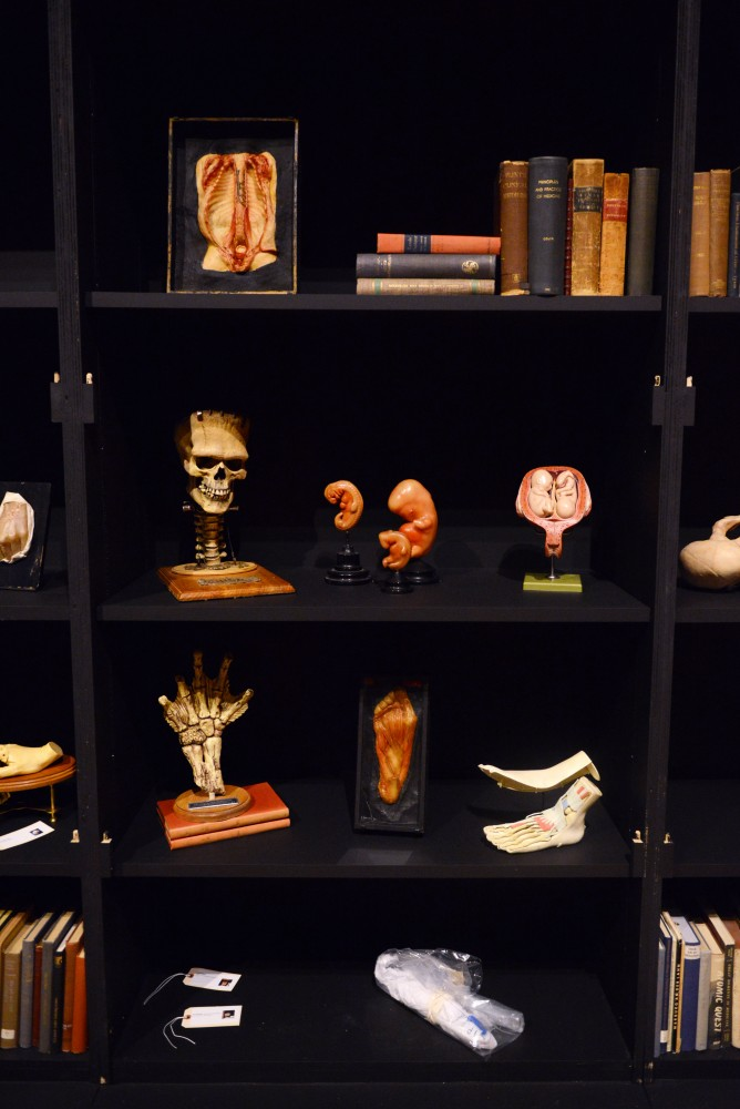 Oddities line the shelvesat Guillermo del Toros At Home With Monsters exhibit at the Minneapolis Institute of Arts on March 2, 2017.