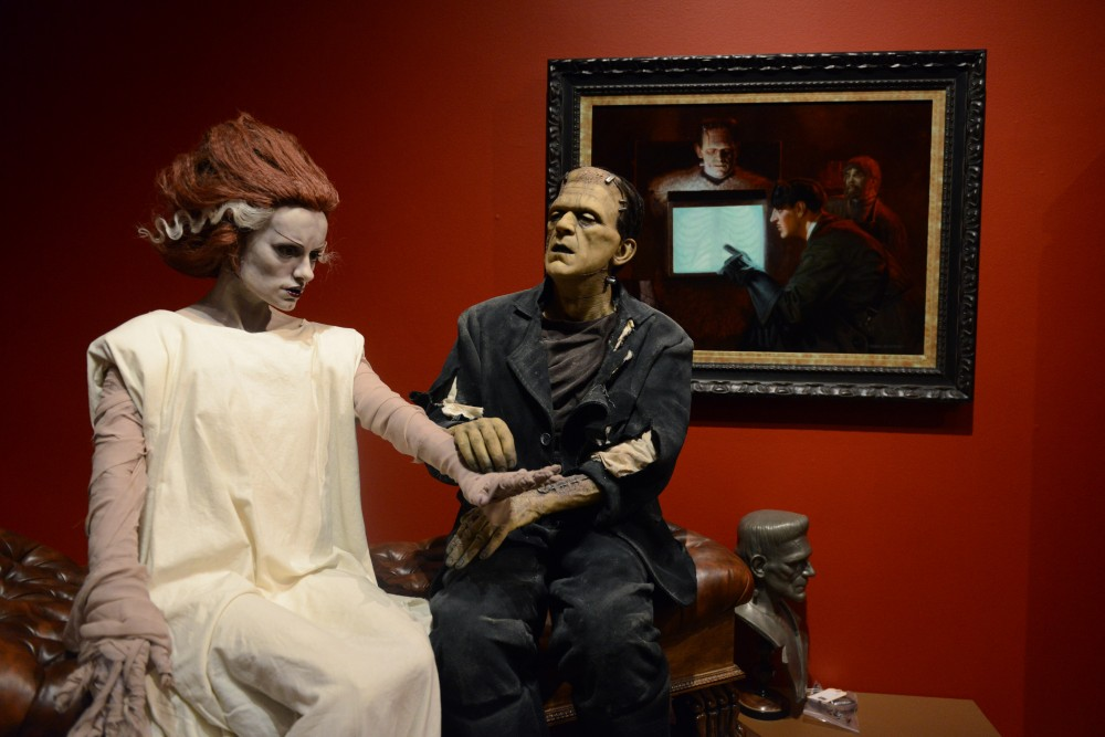 Models of Frankensteins Monster and the Bride of Frankenstein sit on display at Guillermo del Toros At Home With Monsters exhibit at the Minneapolis Institute of Arts on March 2.