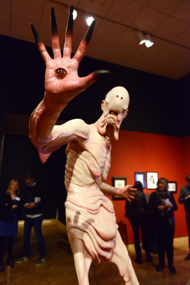 A model of the Pale Man, a monster from the movie Pans Labyrinth, sits on display at Guillermo del Toros At Home With Monsters exhibit at the Minneapolis Institute of Arts on March 2.