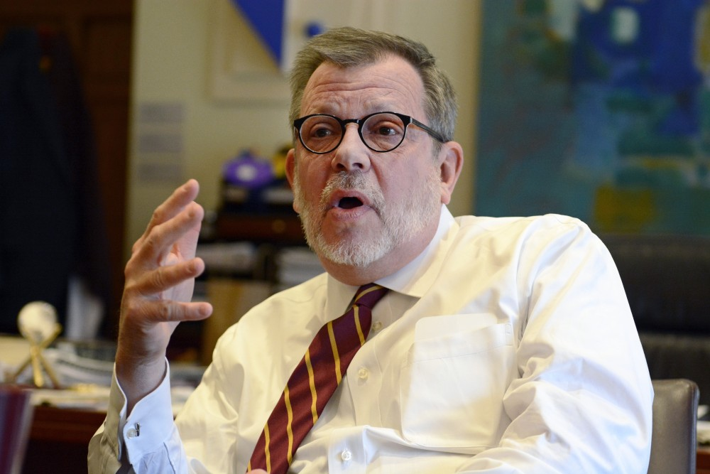 University President Eric Kaler talks with the Minnesota Daily in his office in Morrill Hall on Wednesday.