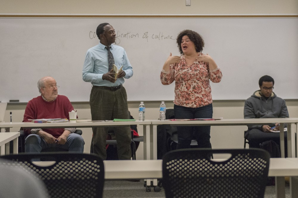 Guest speakers Harry Waters Jr. and Thomasina Petris, both local actors and teachers, read sections of the play Anna in the Tropics during a class at Metropolitan State University in St. Paul on Wednesday, March 1, 2017. The On Stage program works to bring theater into classrooms like this one and the Twin Cities community.