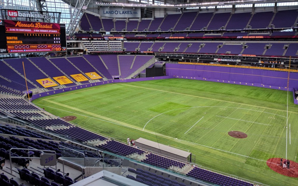US Bank Stadium as seen before a Gophers baseball game on Feb. 26, 2017.