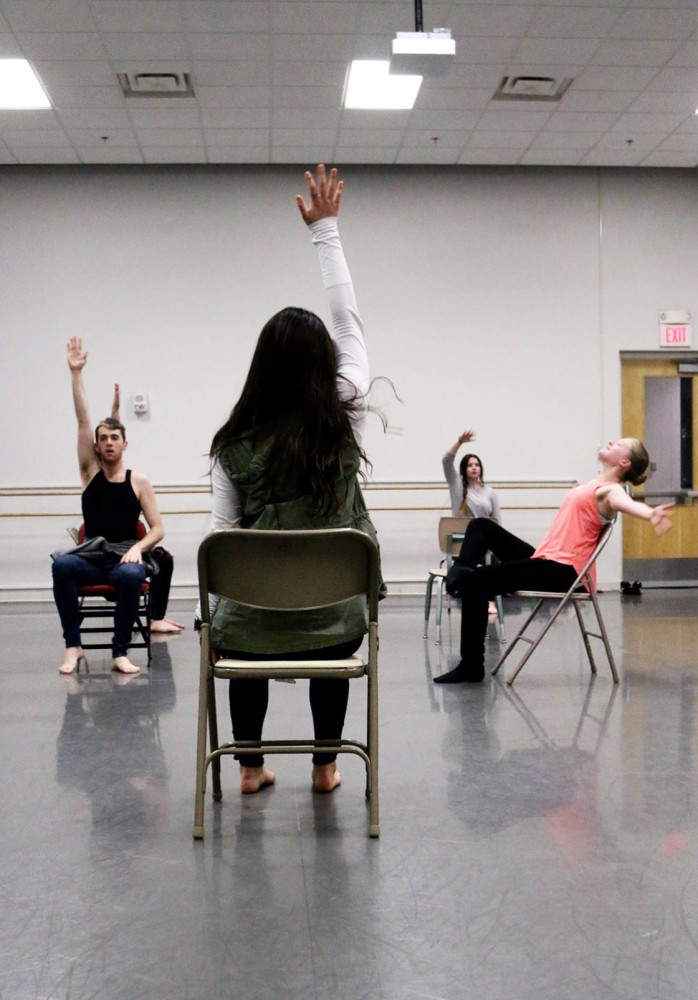 Student dancers rehearse for a student-choreographed production called Three Evenings at the Barbara Baker Center For Dance. The show is the product of a University of Minnesota dance class and will premiere in early April.