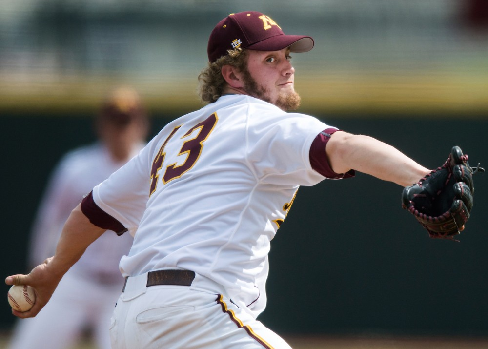 Pitcher Lucas Gilbreath throws pitches at Siebert Field on April 17, 2016.