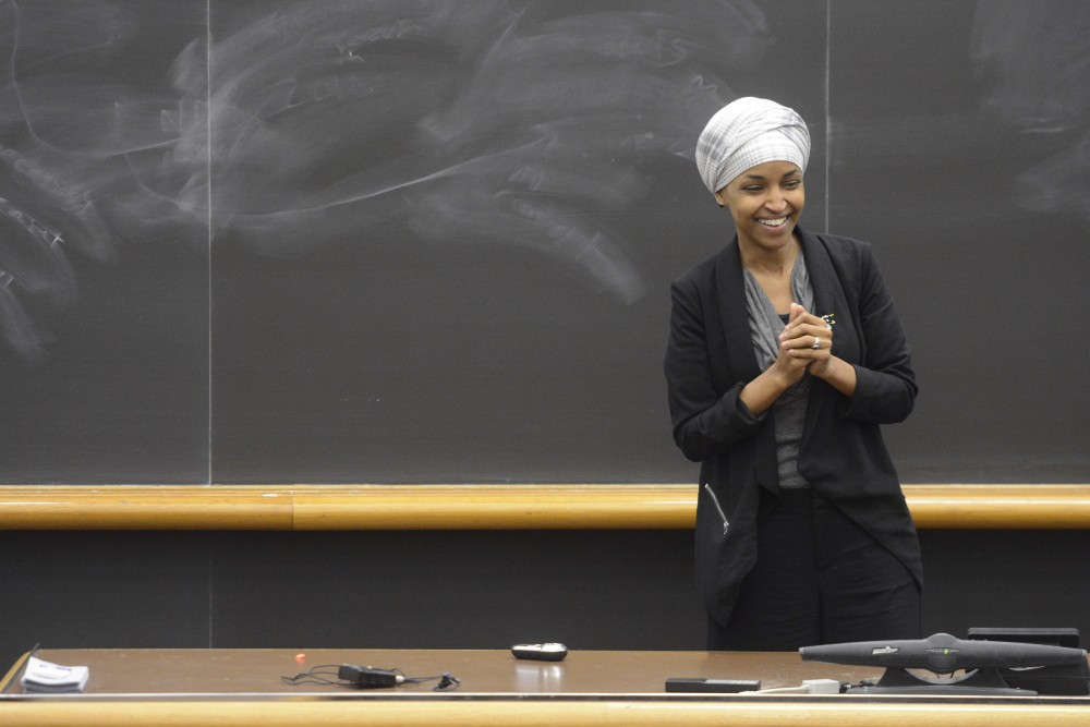 Rep. Ilhan Omar, DFL-Minneapolis, speaks on Friday, Mar. 24 at Mondale Hall on West Bank.
