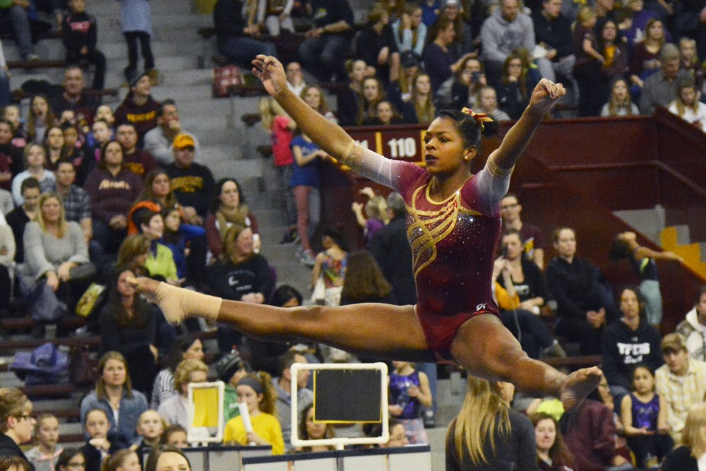 Paige Williams performs her floor routine at Best of Minnesota in the Sports Pavilion on Sunday, Feb, 26. 2017.