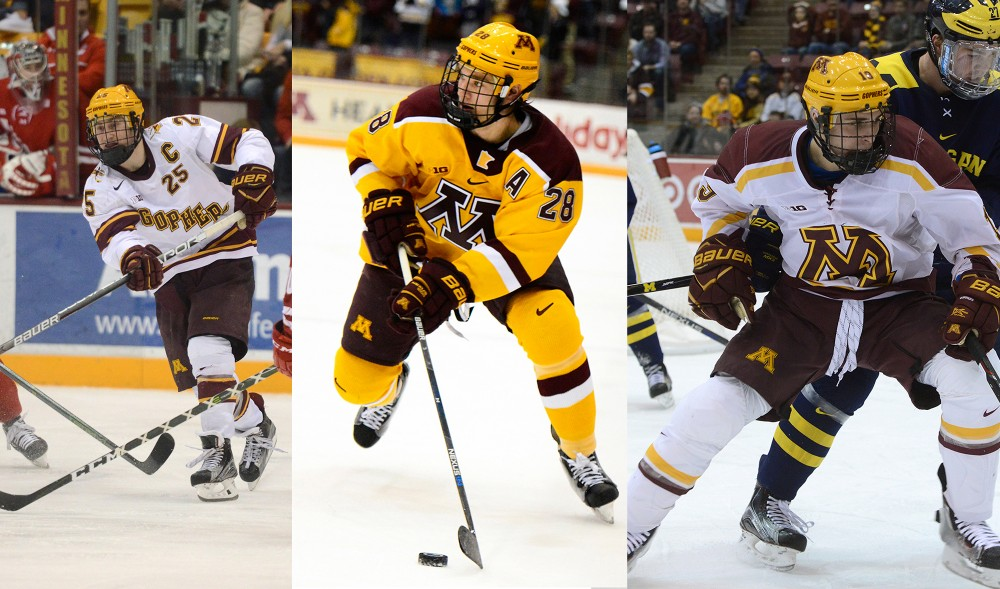 Justin Kloos, Jake Bischoff and Vinni Lettieri play at Mariucci Arena.