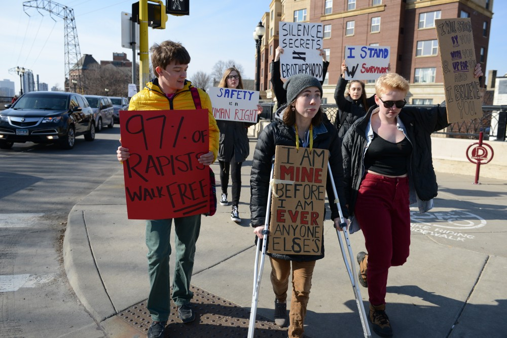 Break the Silence Day organized a march on frat row along University Ave on Saturday, Mar. 4, 2017 in Minneapolis.