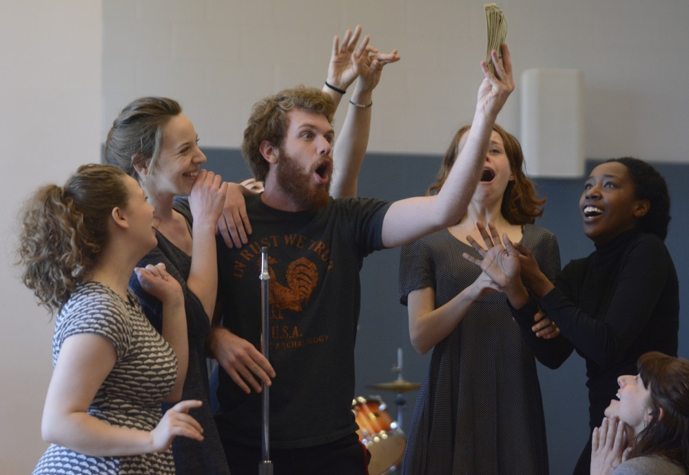 Student actors perform a rehearsal of