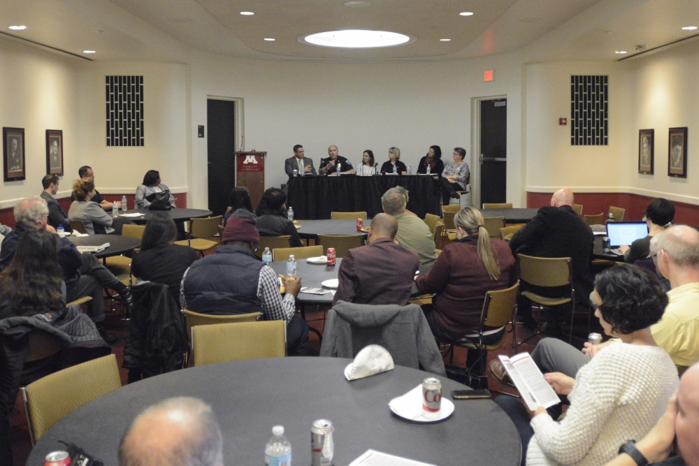 Members of the FBI, University of Minnesota Police Department and the Bias Response Referral Network speak during a community discussion on bias, harassment, discrimination and hate speech incidents at Coffman Memorial Union on Friday, March 31, 2017.