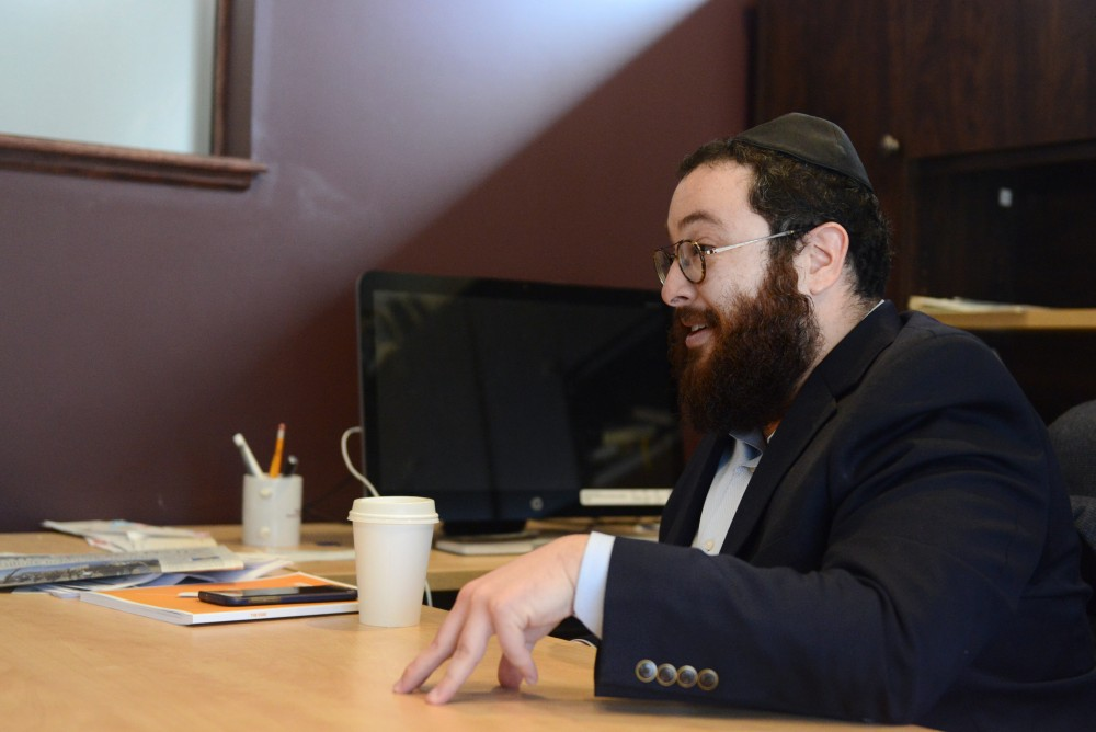 Rabbi Yitzi Steiner talks in his office at Chabad on Friday, March 21, 2017.