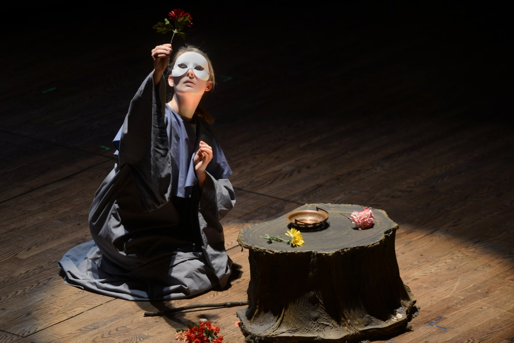 An actor playing a nun performs during a dress rehearsal for Giacomo Puccini