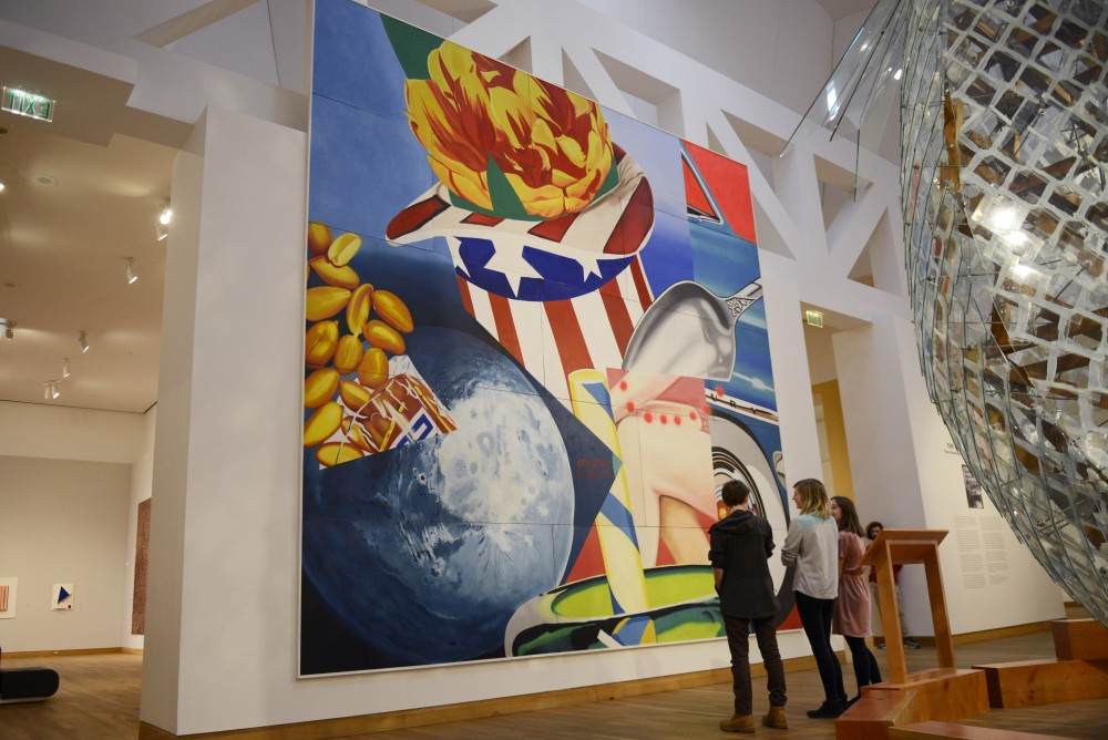 People view James Rosenquist's mural