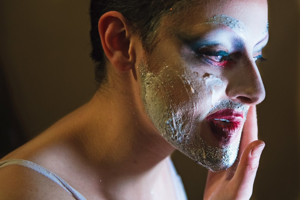 Masoudae Rezvani removes their drag makeup at the end of the night, following a performance as Heda Thrasher at LUSH in Northeast Minneapolis.
