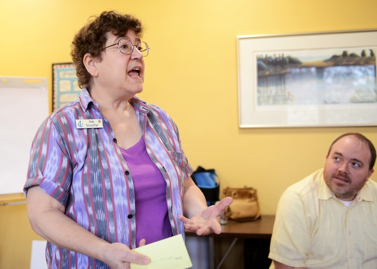 Deb Snouffer leads students through a sexual education activity at the First Unitarian Society in Minneapolis on Sunday.