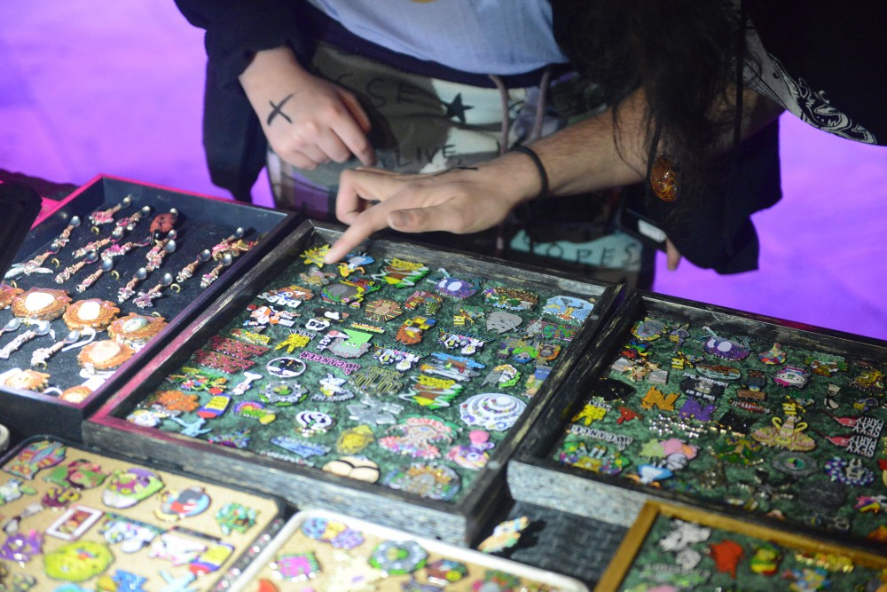 Festi Daze, LLC, a company that sells pins and other apparel at EDM venues, displays their products on Thursday, April 27, 2017 at The Exchange in Minneapolis.