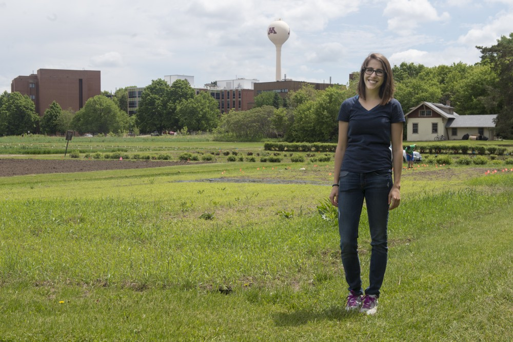 Graduate student and Nutritious U founder Rebecca Leighton poses for a portrait outside the garden plot on St. Paul campus on Thursday, May 25. The food grown from the garden will be donated to a local food shelf.
