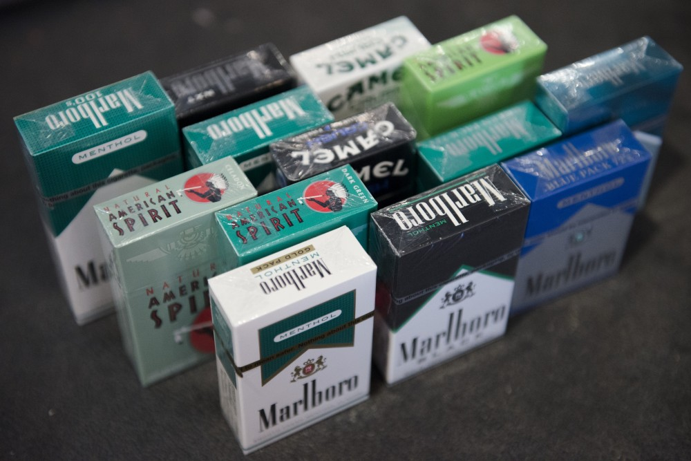 A variety of menthol cigarettes are displayed on a stand at Hideaway smoke shop in Dinkytown on Sunday June, 18 2017. A ban on menthol favored cigarettes in corner stores will be presented to the Minneapolis Cit council on Friday, June 16.