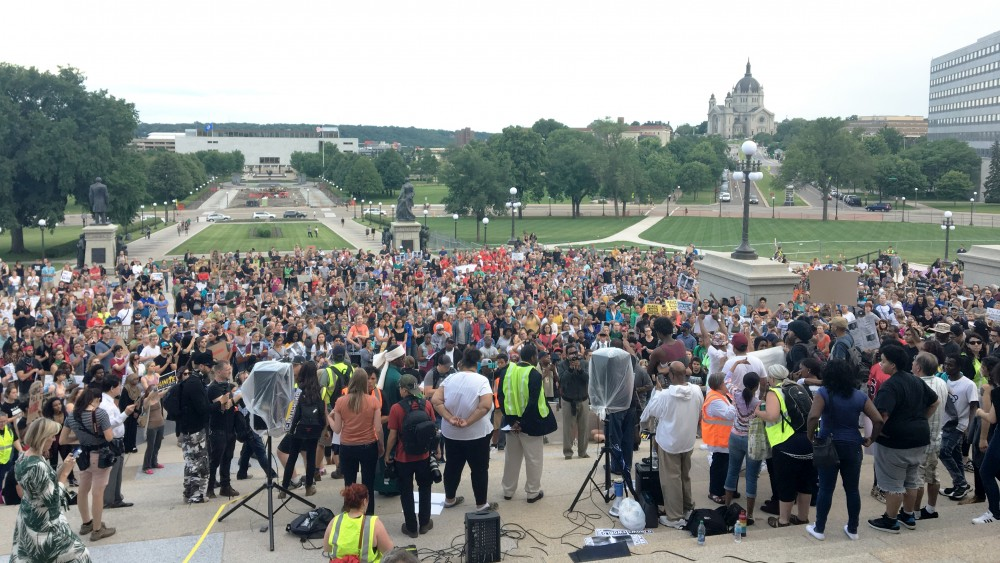Hundredsgather at the Capitolto show disagreement with not guilty verdict inPhilando Castile case on Friday.