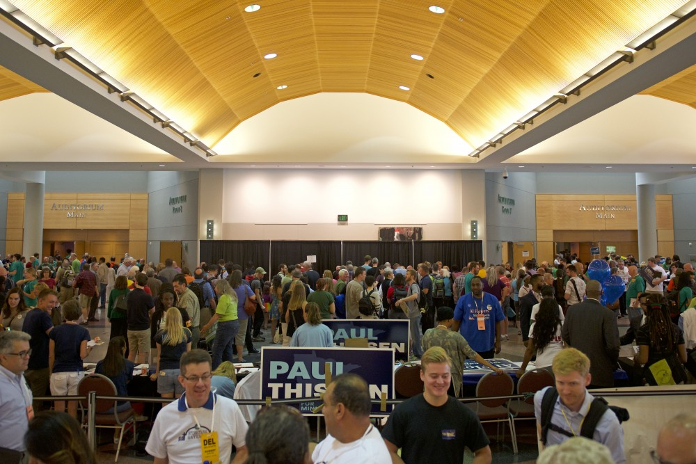 Delegates, alternate voters and supporters of all candidates converse before the Democratic-Farmer-Labor Party's 2017 City Convention on Saturday, July 8, 2017 the Minneapolis Convention Center.