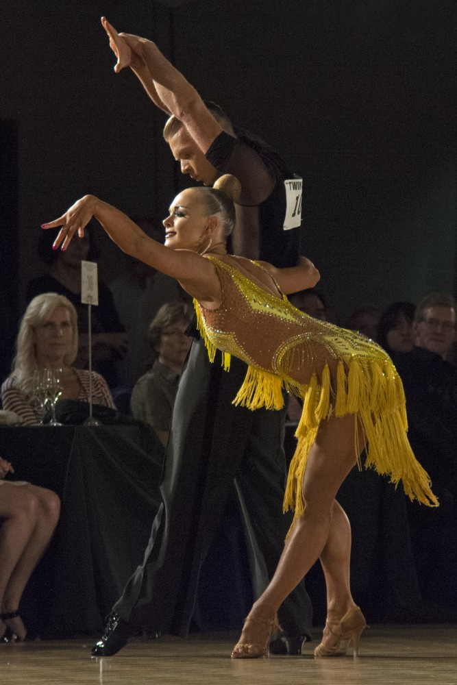 Tatyana Lutenko and Dymytrii Goncharov perform during the professional open Latin championship semi-final round at the Twin Cities Open Ballroom Championships at the Hyatt Regency in downtown Minneapolis on July 8, 2017. The competition hosted dancers from across the nation.