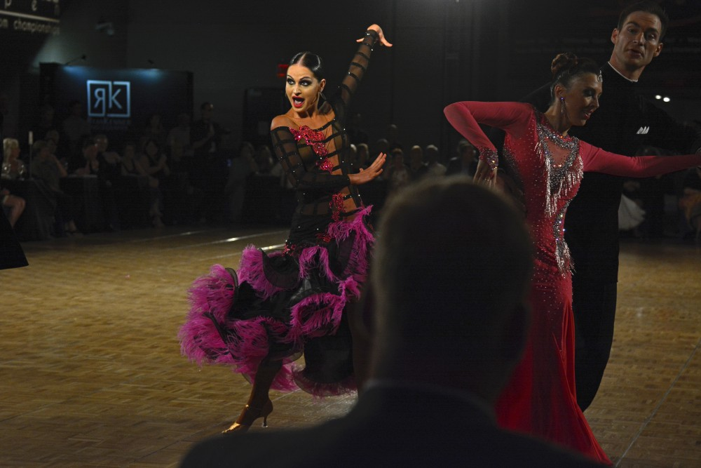 Oleksandra Kharchenko performs in the Professional Open Latin Championship semi-finals at the Twin Cities Open Ballroom Championships at the downtown Minneapolis Hyatt Regency on July 8. The competition hosted dancers from across the nation.