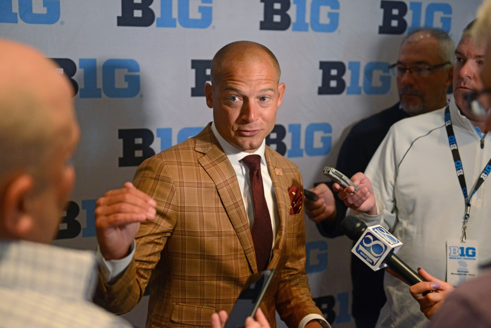 Head coach P.J. Fleck fields questions from the media during the Big Ten Media Days event Tuesday at the McCormick Place Convention Center in Chicago.