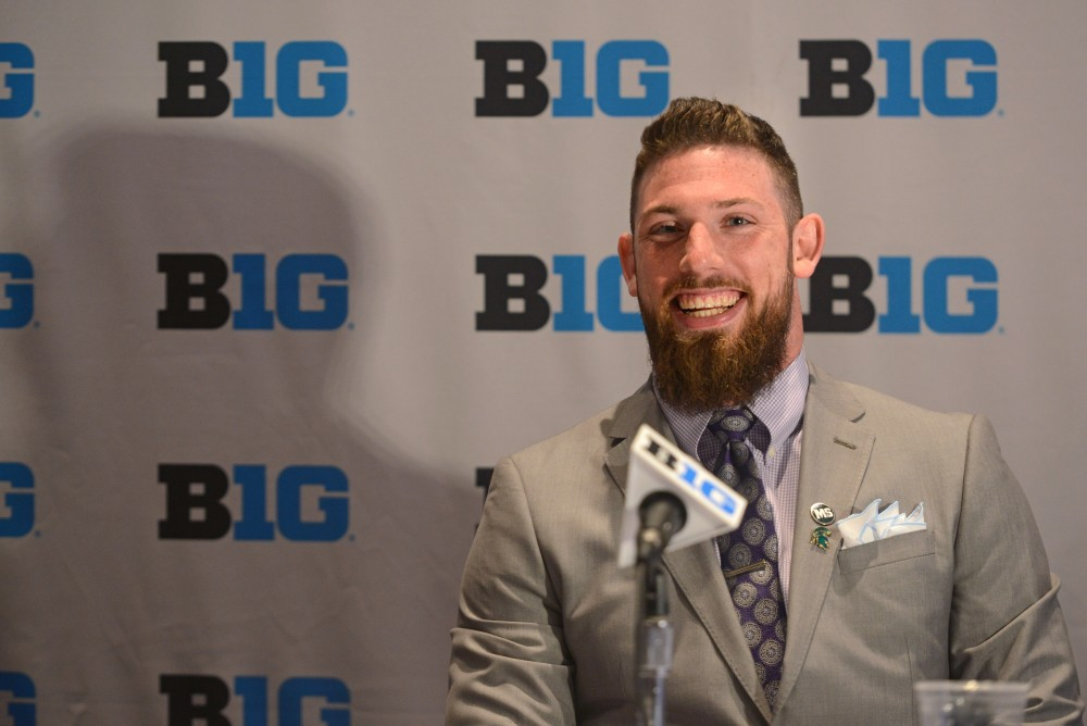 Michigan State University linebacker Chris Frey fields questions from the media during the Big Ten Media Days event Monday at the at McCormick Place Convention Center in Chicago.