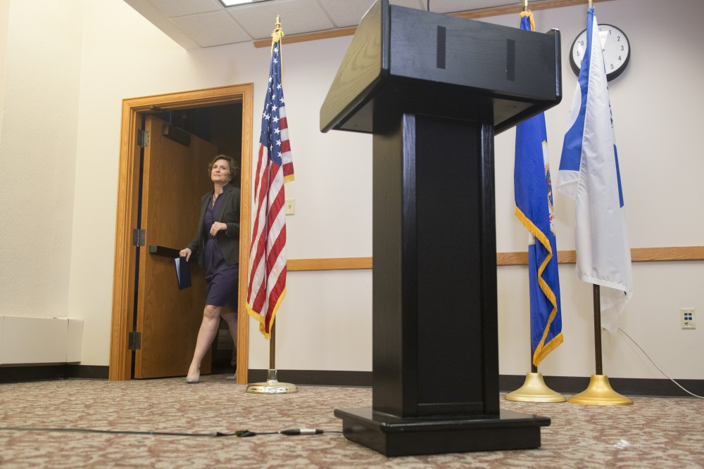 Mayor Betsy Hodges enters the room to speak on Police Chief Janee´ Harteau's resignation on Friday at Minneapolis City Hall.