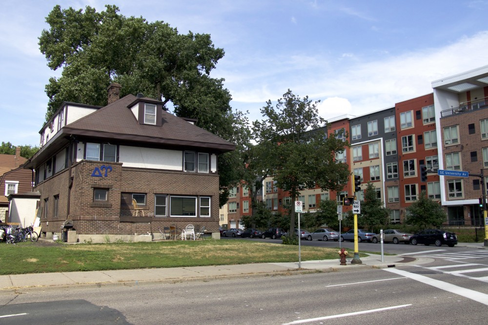 Delta Upsilon, a fraternity that was vandalized on Friday, July 21, 2017, is seen on the same day in Minneapolis, Minnesota.