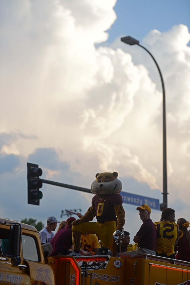Goldy stands ready before the 17th annual CenterPoint Energy Torchlight Parade along Hennepin Avenue on Wednesday.