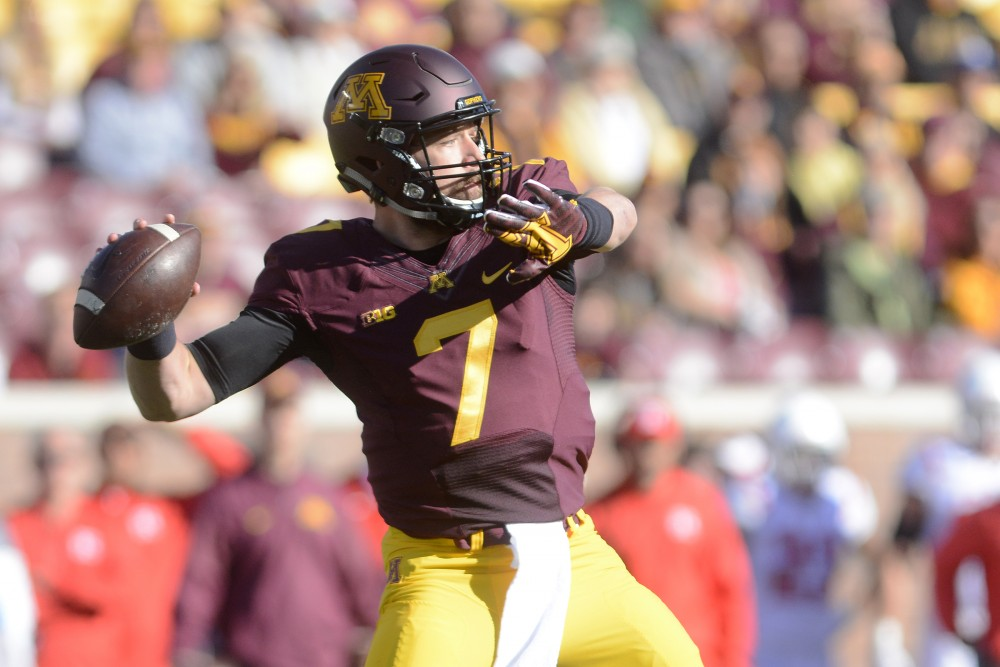Gophers quarterback Mitch Leidner winds up a throw on Saturday, Oct. 22, 2016 during a game against Rutgers at TCF Bank Stadium.