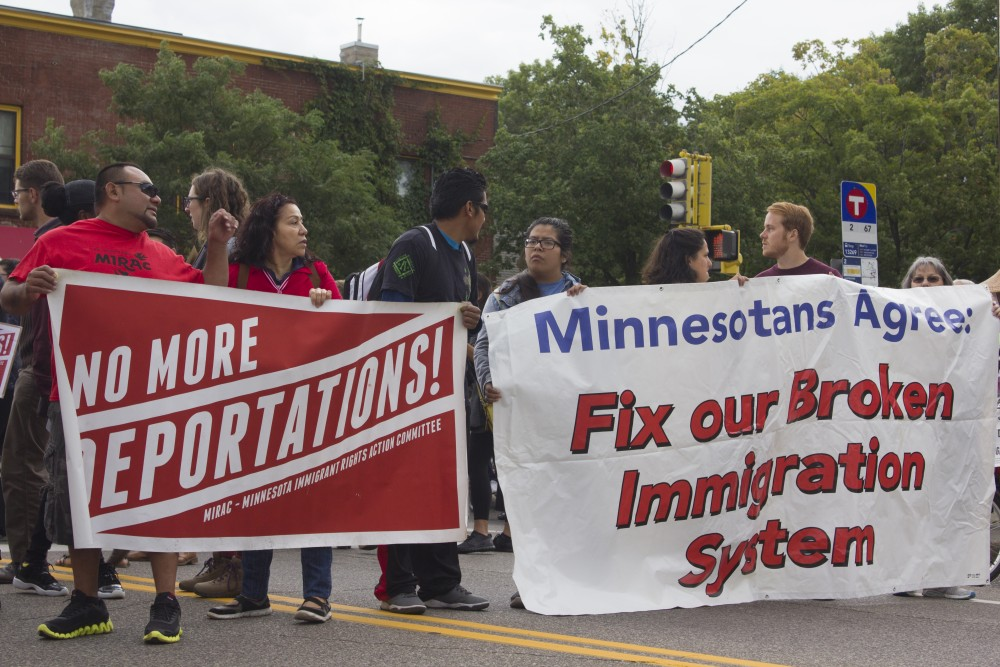 Protesters march against the repeal of the Deferred Action for Childhood Arrivals policy on Sept. 5 on East Franklin Avenue.