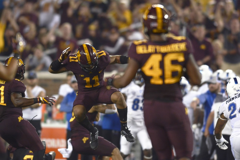 Defensive back Antoine Winfield Jr. celebrates after a tackle on Thursday, Aug. 31, at TCF Bank Stadium.