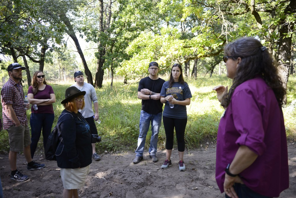 Jeannine Cavender-Bares discusses the effects of burning different land plots at the Cedar Creek Ecosystem Science Reserve in East Bethel on Saturday, Sept. 9 2018. The center recently turned 75 years old and teaches scientists the current understanding of biodiversity and its importance.
