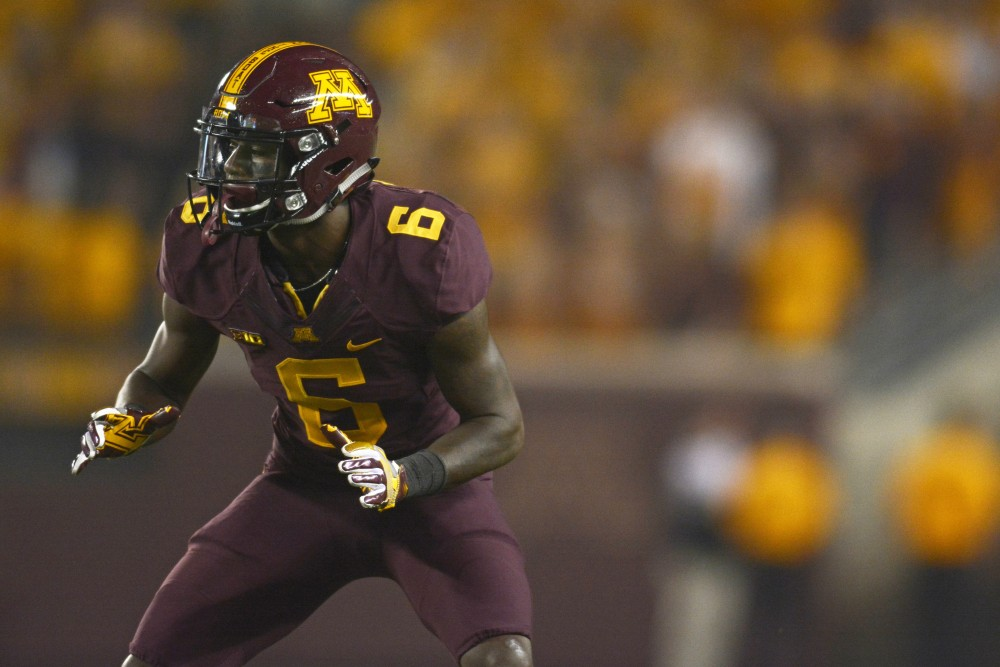 Wide receiver Tyler Johnson waits for the snap on Aug. 31 at TCF Bank Stadium.