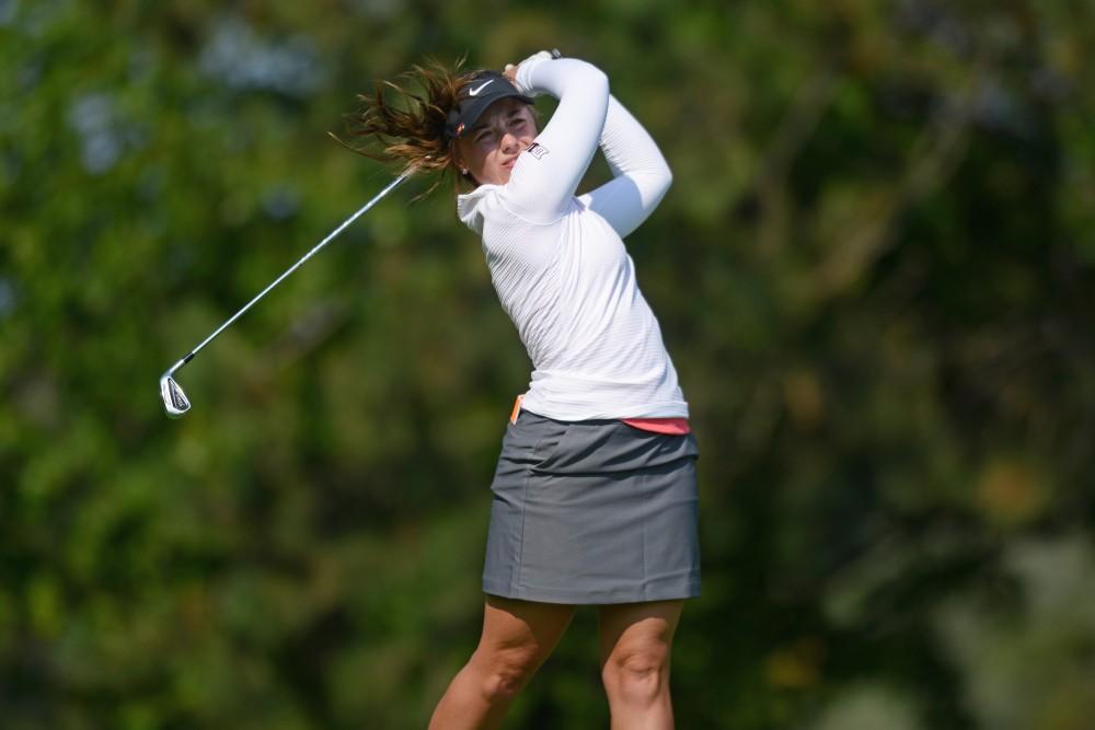 Senior Sabrine Garrison drives the ball during the Minnesota Invitational on Monday, Sept. 11, 2017 at Prestwick Golf Club in Woodbury, Minn.