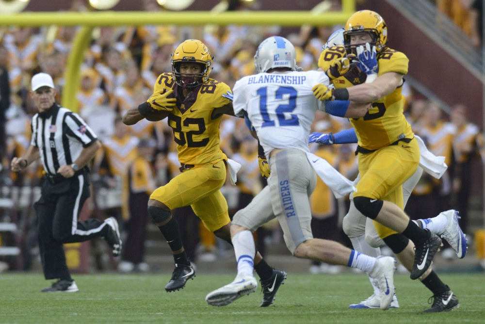 Wide receiver Demetrius Douglas runs with the ball against Middle Tennessee on Saturday, Sept. 16 at TCF Bank Stadium in Minneapolis.
