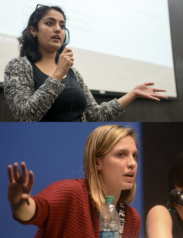 Above: Former Minnesota Student Association President Abeer Syedah speaks during an MSA forum in Mondale Hall on Sept. 13, 2016.  Below: Former Minnesota Student Association President Joelle Stangler talks about her visions for the student group's future at the election debate at Coffman on April 8, 2015.
