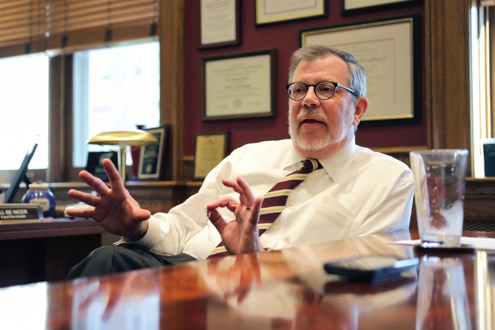 University President Eric Kaler fields questions from the Minnesota Daily on Thursday, Sept. 21.
