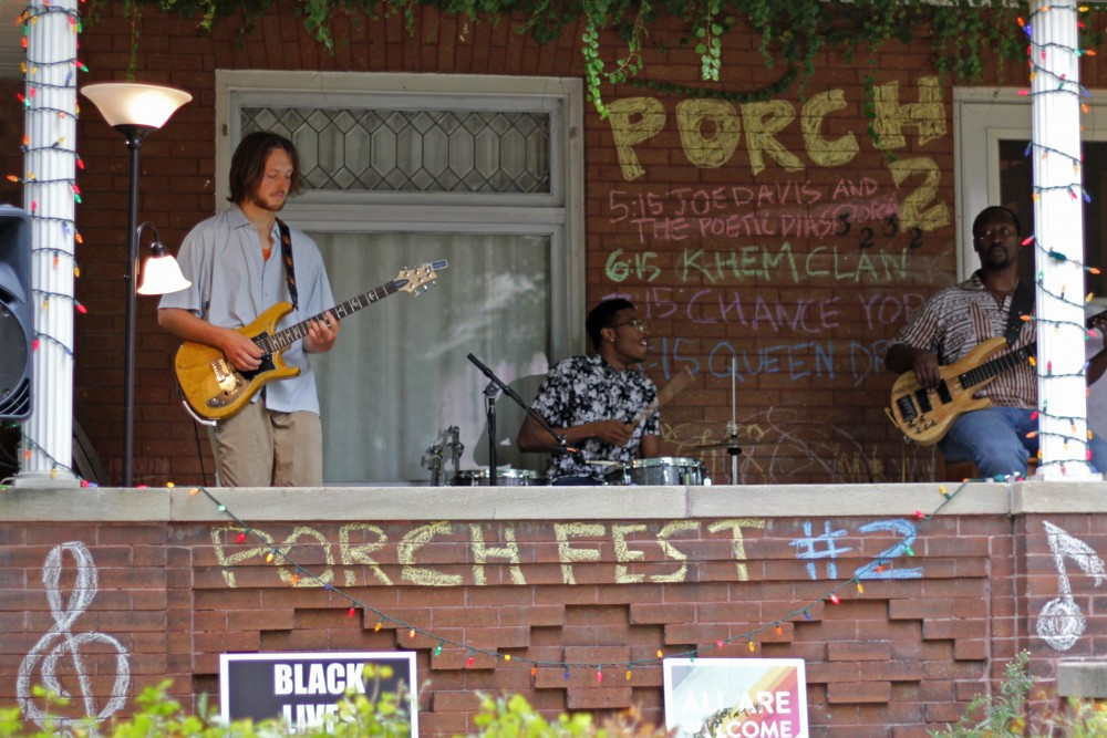 Joe Davis and the Poetic Diaspora warm up before performing at the Powderhorn PorchFest on Saturday, Sept. 23.