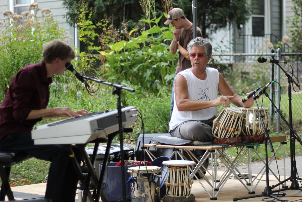 Steven Hobert and Marcus Wise play Indian inspired music at the  Powderhorn PorchFest on Saturday, Sept. 23.