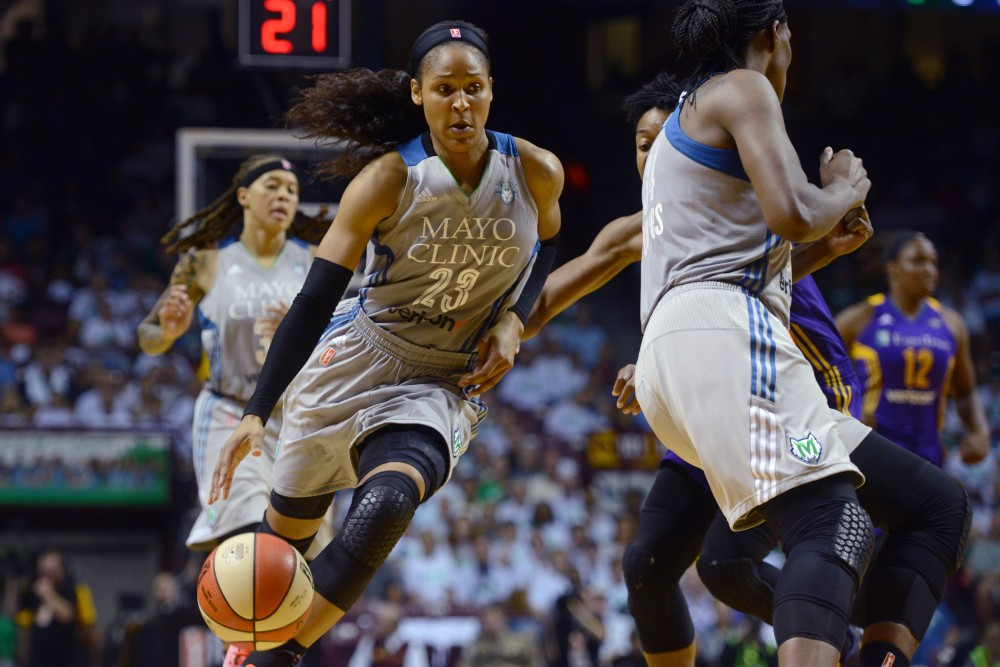 Lynx forward Maya Moore takes the ball up the court in the first game of the WNBA Finals at Williams Arena on Sunday, Sept. 24. The Lynx lost 85-84.