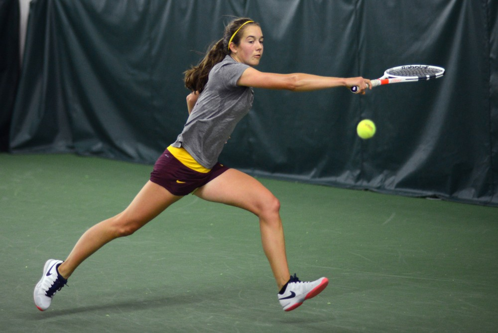 Cammy Frei competes at the 2017 Gopher Invitational at the Baseline Tennis Center on Sunday, Sept. 24.