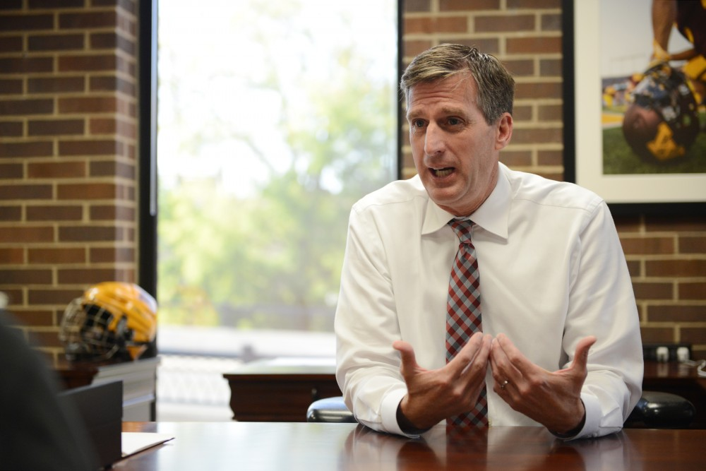 Athletics Director Mark Coyle sits down to talk with the Minnesota Daily to field questions on Friday, Sept. 30, 2016 at Bierman Field Athletic Building.