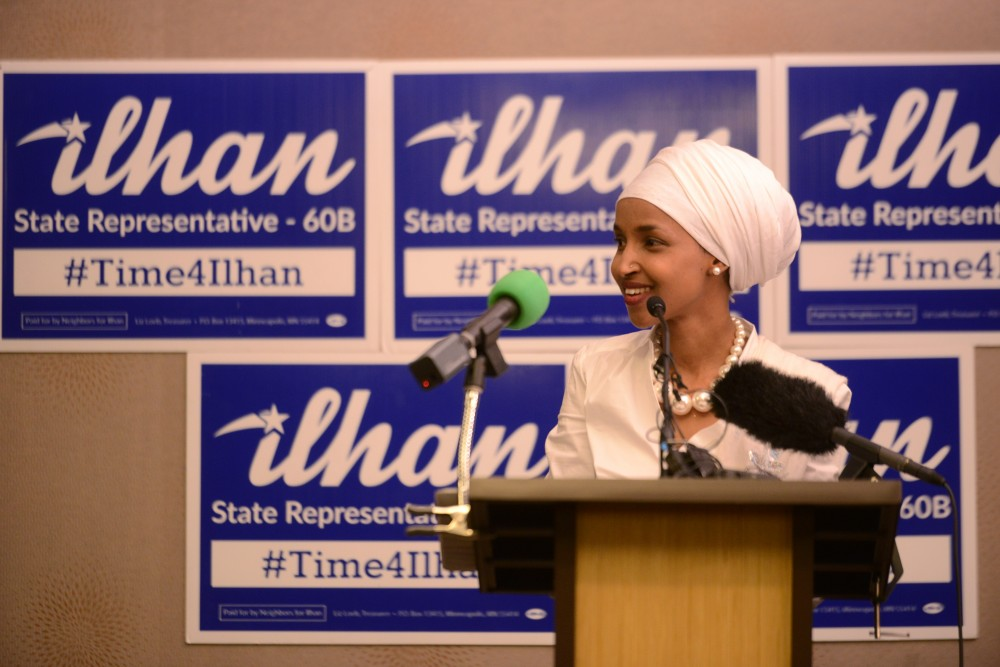 House District 60B-elect Ilhan Omar speaks at her election party on Tuesday, Nov. 8, 2016 at the  Courtyard Marriott on West Bank in Minneapolis. Omar won the seat for House District 60B.