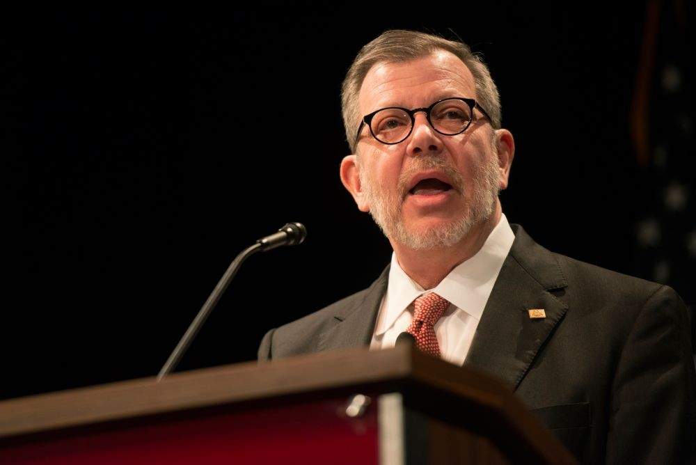 President Eric Kaler delivers his State of the University address at Coffman Union Theater on Thursday, March 7, 2016.