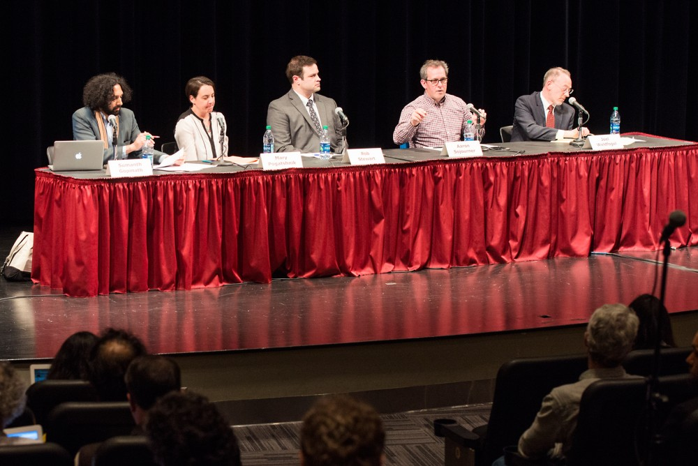 Left to right, University faculty Samanth Gopinanth, Mary Pogatshnik, Rob Stewart, Aaron Sojourner and Joel Waldfogel speak at a community forum on faculty unionization cohosted by the Faculty Consultative Committee and the Minnesota Daily in the Coffman Theater on April 25, 2016.